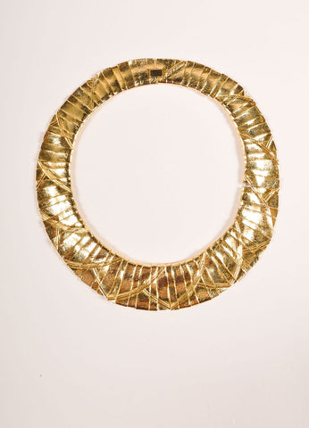 Ciner Gold Toned Textured Strip Embellishment Collar Necklace Frontview