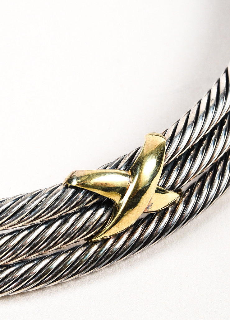 David Yurman Sterling Silver and 14K Yellow Gold 'X' Accent Cable Collar Necklace Detail