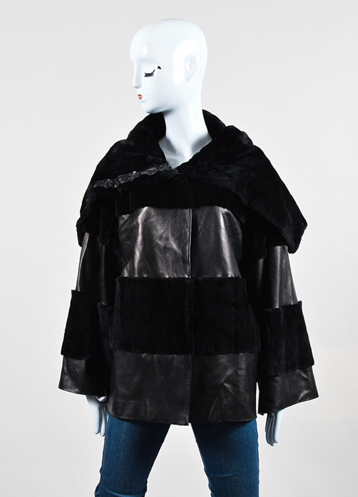Black Dolce & Gabbana Leather Fur Shawl Collar Striped Button Coat Frontview