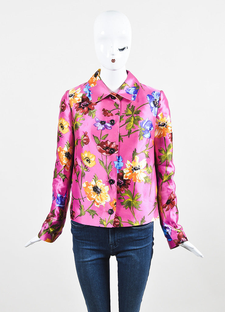 Dolce & Gabbana Pink Multicolor Silk Floral Print Long Sleeve Blazer Frontview 2