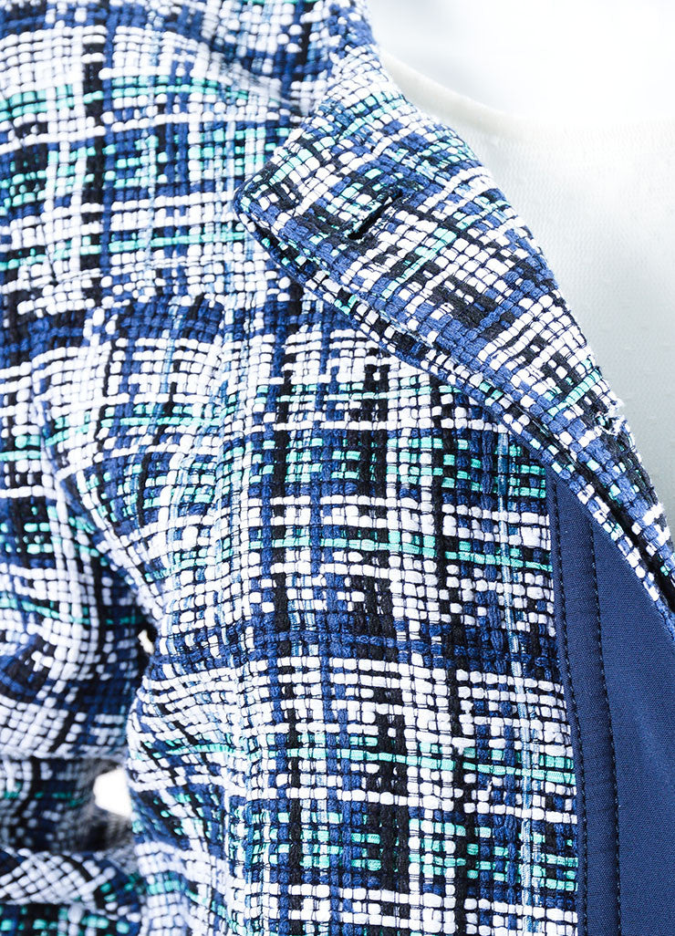 White, Blue and Green Etro Silk Knit Plaid Tweed Jacket Detail