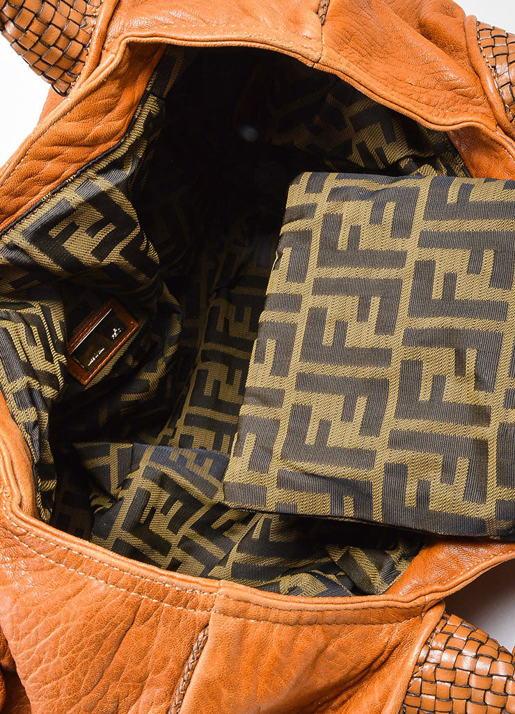"Tan and Gold Toned Fendi Leather Woven Trim ""Spy"" Bag Interior"