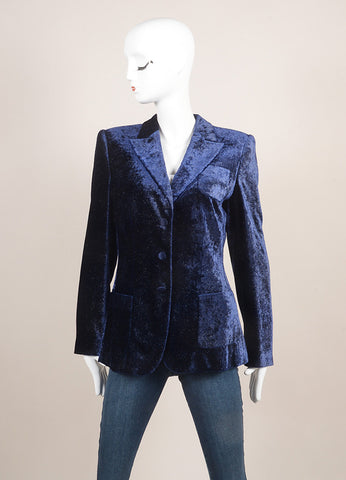 Giorgio Armani Dark Blue Glittery Velvet Buttoned Peak Lapel Long Sleeve Blazer SZ 40 Frontview