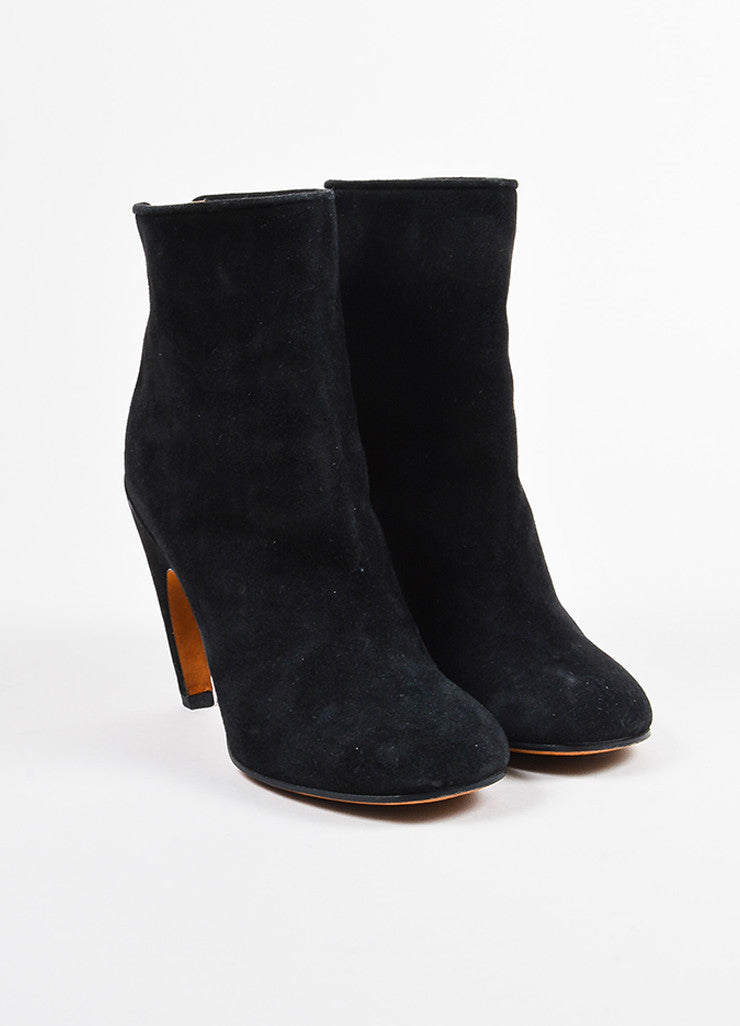 Givenchy Black and Silver Toned Suede Contoured Heel Zipped Ankle Boots Frontview