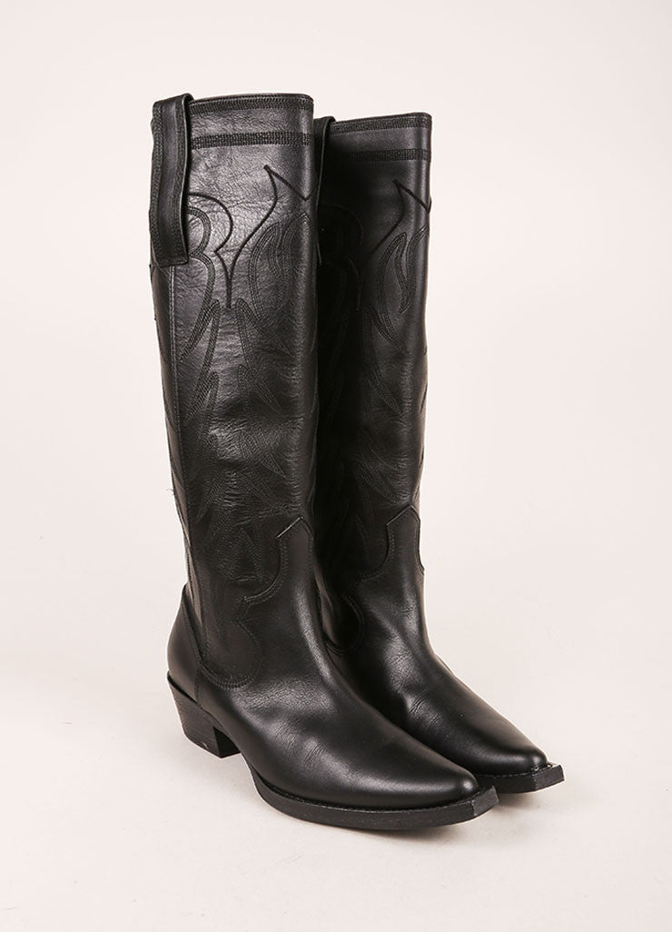 Givenchy Black Leather Knee High Cowboy Boots Frontview