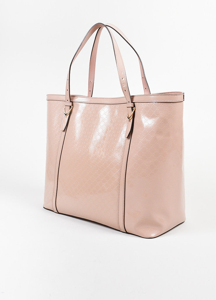 "Pink Gucci Patent Leather Monogram Embossed ""Microguccissima"" Tote Bag Sideview"
