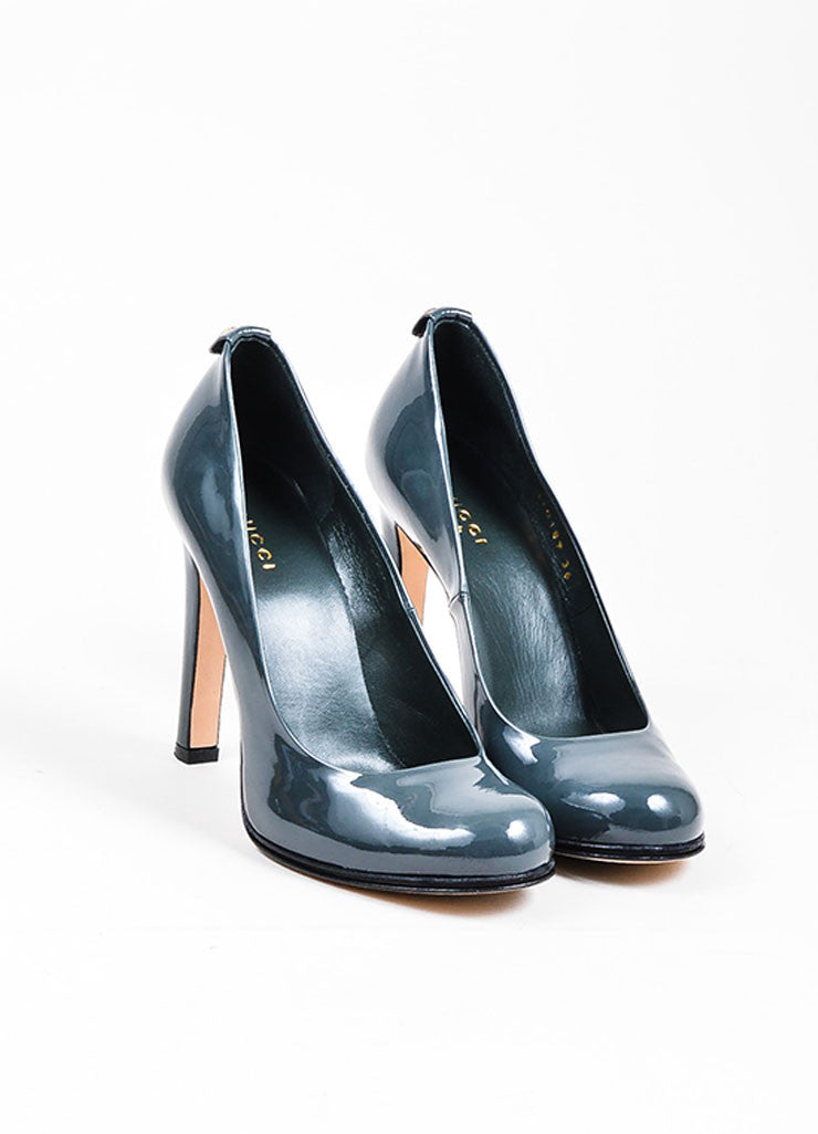 Grey Gucci Patent Leather 'GG' Round Toe Pumps Front