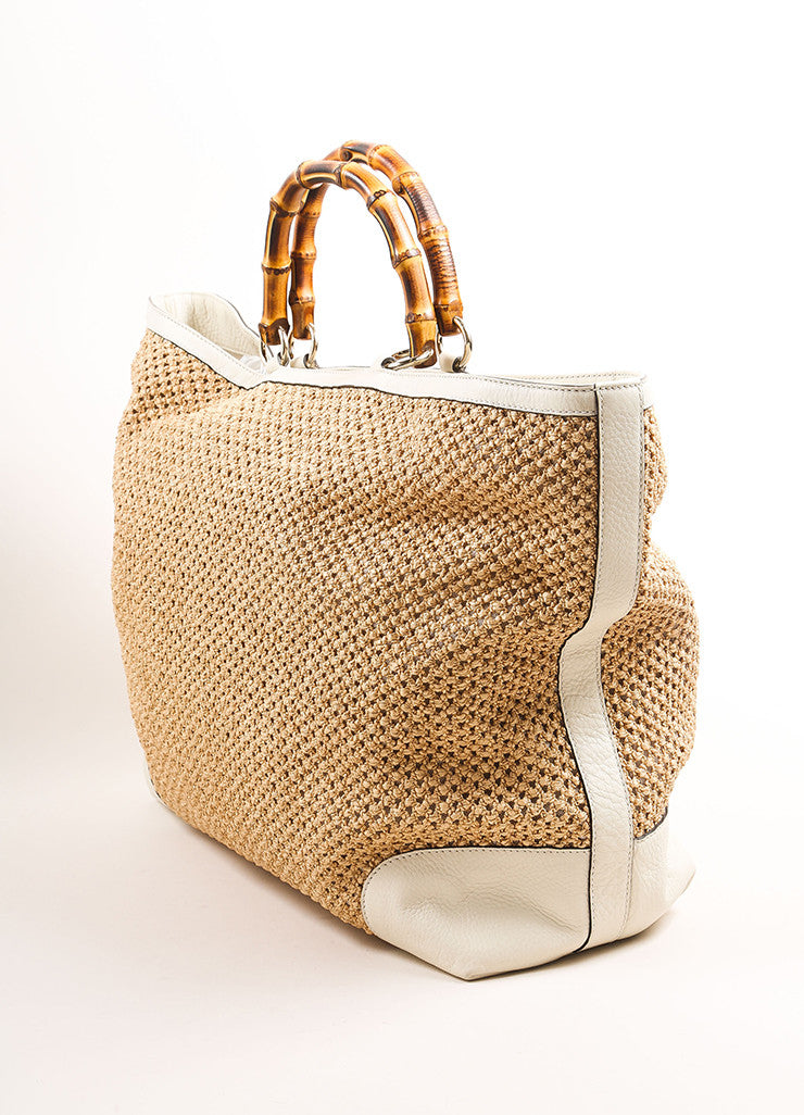 "Gucci Tan and White Woven Straw Leather Trim ""Bamboo Large Shopper"" Tote Bag Sideview"
