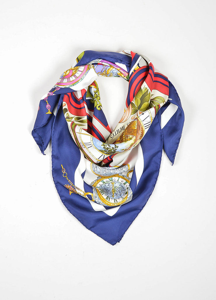 "Cream, Red, and Navy Blue Silk Hermes ""La Ronde des Heures"" 90cm Square Scarf Frontview"