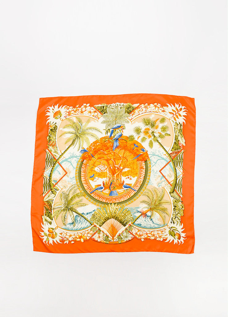 "Hermes Orange and Multicolor Silk Hula Girl Bird Print ""Aloha"" 90cm Scarf Frontview 2"
