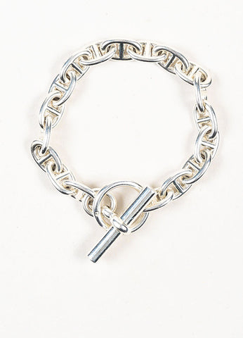 "Hermes Sterling Silver ""Chaîne d'Ancre PM"" Mariner Chain Link Bracelet Frontview"