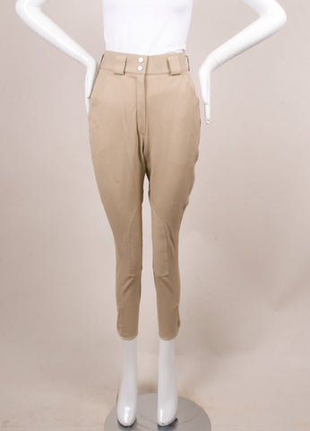 Hermes Tan High Waisted Stretch Cotton Twill Jodhpur Riding Pants Frontview