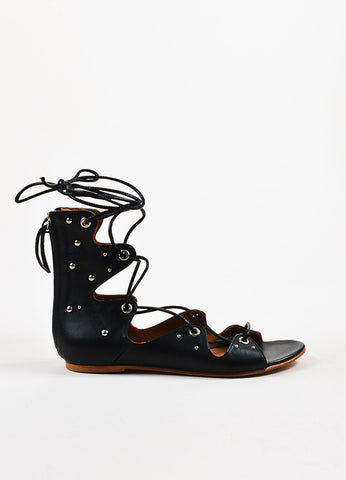 "IRO Black Leather Studded Lace Up ""Xiri"" Flat Gladiator Sandals Sideview"