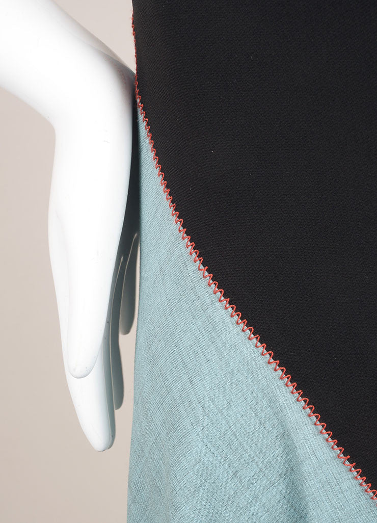 Jonathan Saunders New With Tags Black and Teal Wool Sleeveless A-Line Dress Detail