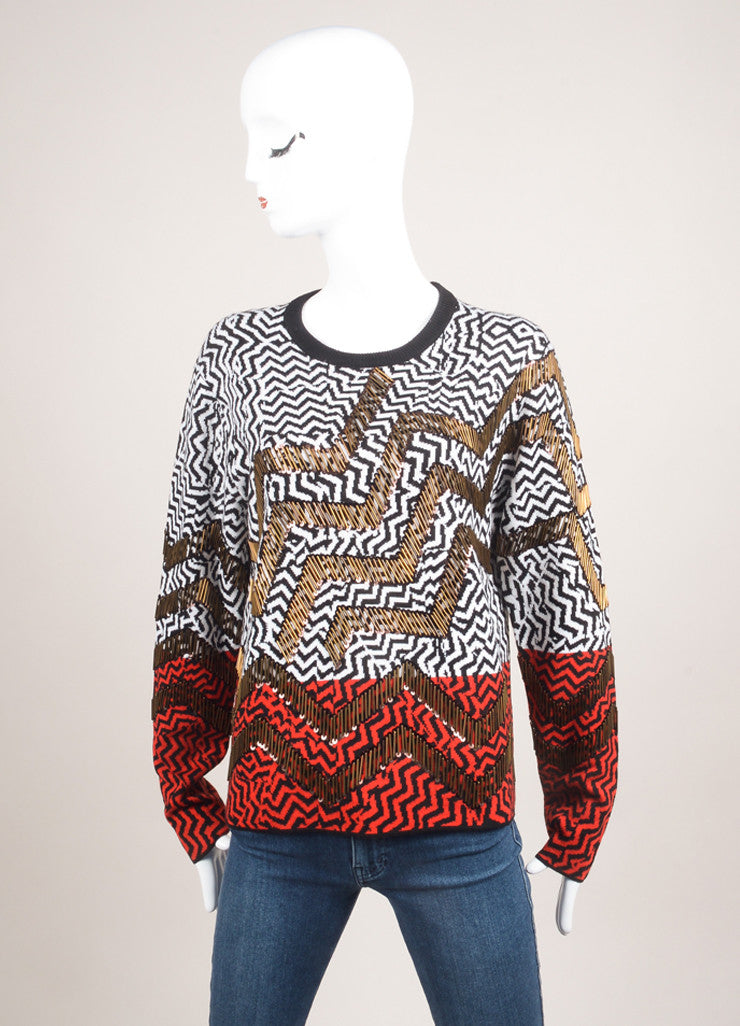 Kenzo New With Tags Black, White, and Red Wool Beaded Zig Zag Knit Sweater Frontview