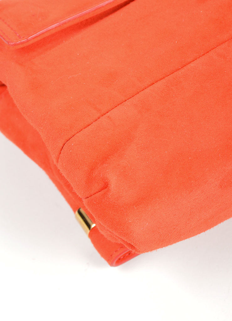 Red and Gold Toned Lanvin Suede Foldover Flap Clutch Bag Detail