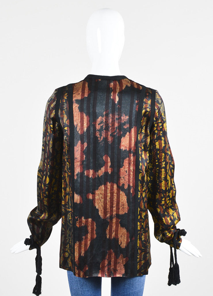 Black, Yellow, and Maroon Lanvin Leaf Print Tassel Tunic Blouse Backview