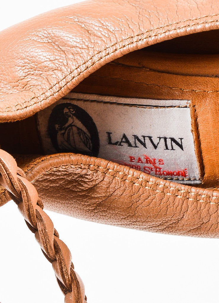 Lanvin Nude Leather Braided Chain Ankle Strap Ballet Flats Brand