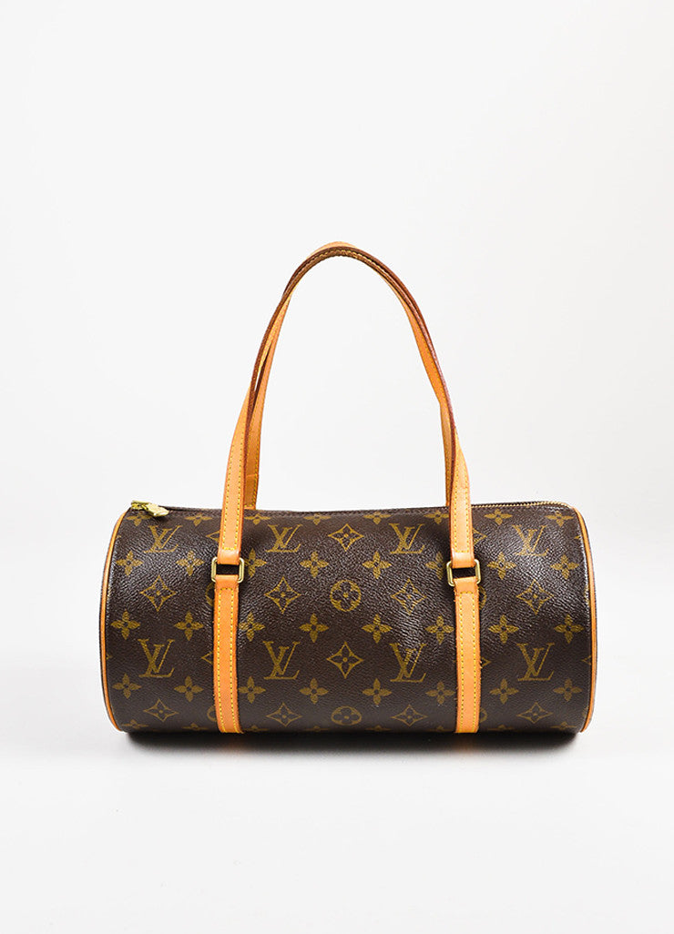 "Louis Vuitton Brown and Tan Coated Canvas Monogram ""Papillon"" Duffle Bag Frontview"