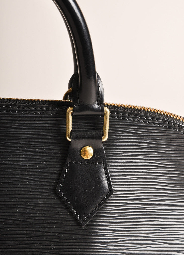 "Louis Vuitton Black Epi Leather ""Alma"" Zippered Top Handle Bag Detail 2"