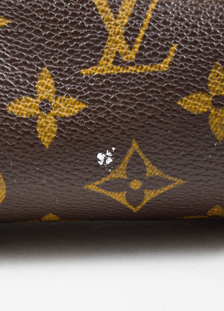 "Louis Vuitton Brown and Tan Coated Canvas and Leather ""Mini Papillon"" Cylinder Bag Detail 2"