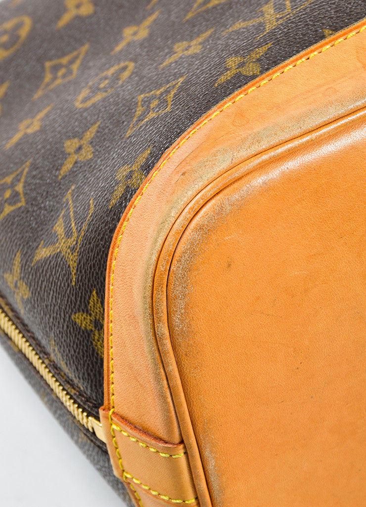 "Louis Vuitton Brown Tan Coated Canvas Leather Monogram ""Alma PM"" Bag Detail 2"
