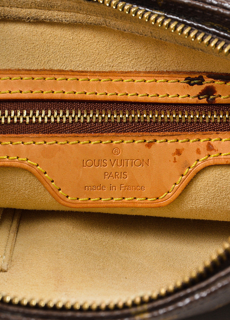 "Louis Vuitton Brown and Tan Coated Canvas Leather Monogram ""Looping MM"" Hobo Bag Brand"