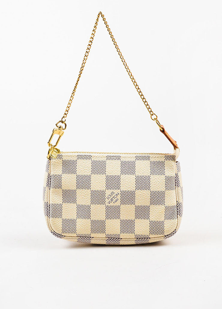 "Louis Vuitton Cream Navy ""Damier Azur"" Coated Canvas ""Mini Pochette"" Wristlet Frontview"