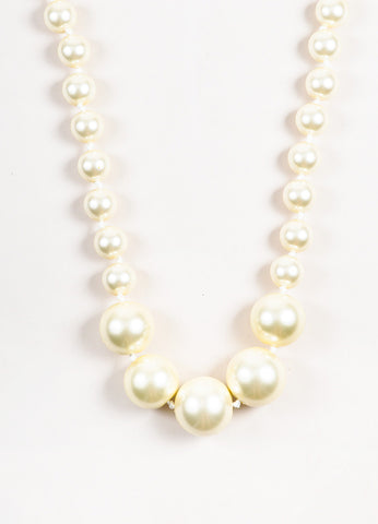 Louis Vuitton Cream Faux Pearl Oversized Satin Ribbon Necklace Detail