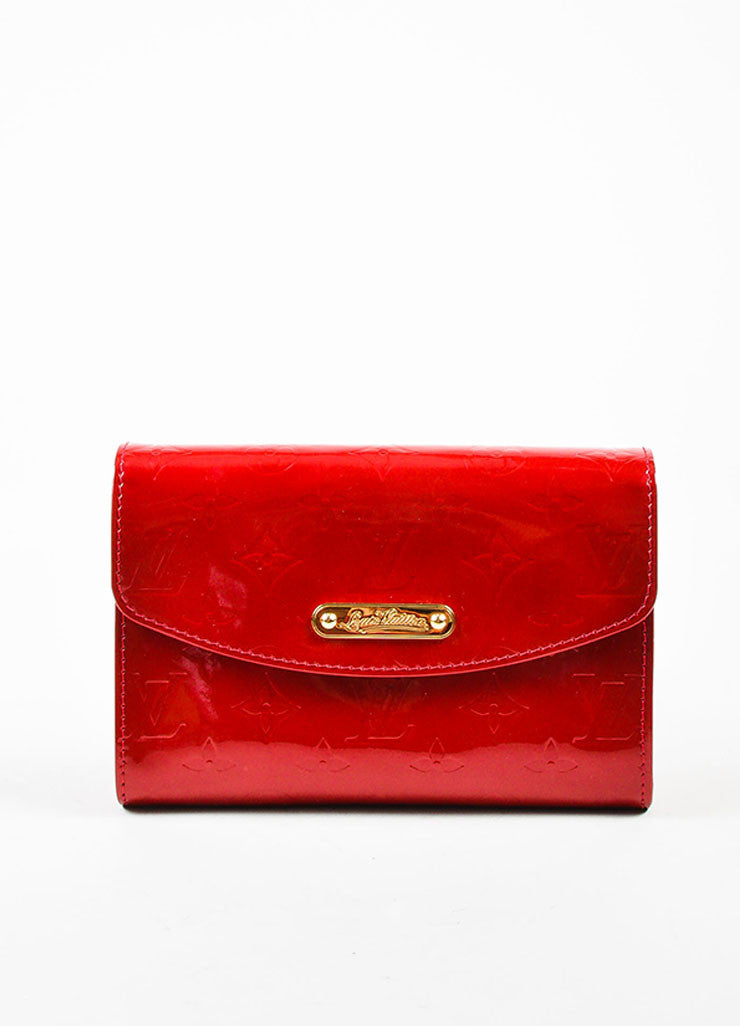 "Louis Vuitton Red Vernis Patent Leather Embossed Monogram ""Bel Air"" Chain Bag Frontview"