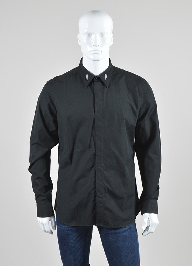 Men's Black Givenchy Cotton Cuban Fit Button Down Long Sleeve Shirt Front