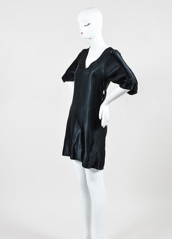 Black Maison Martin Margiela Satin Cut Out Shoulder Crop Sleeve Dress Sideview