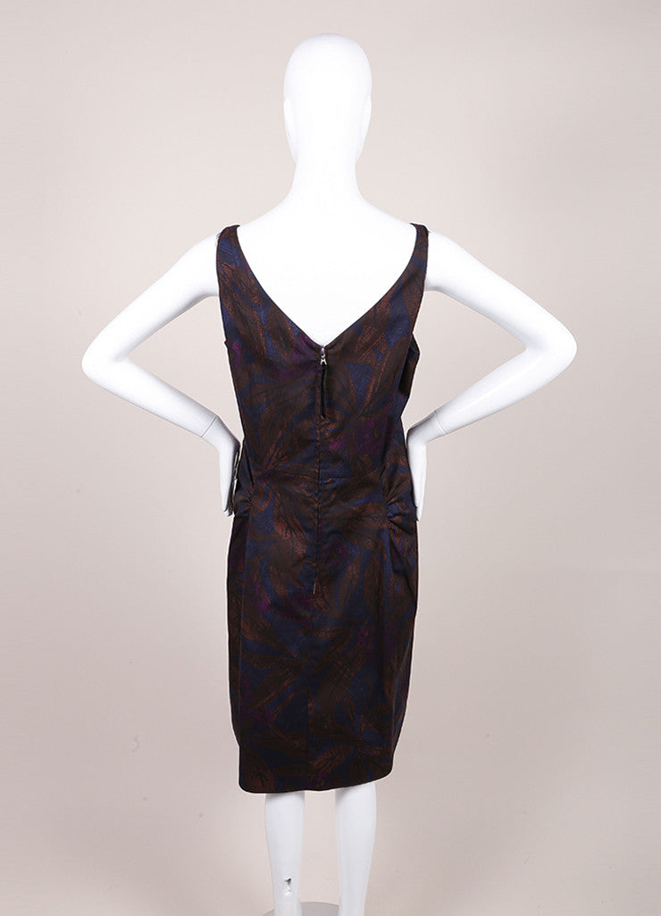 Marc Jacobs New With Tags Brown, Blue, and Purple Leaf Print Sleeveless Cotton Sheath Dress Backview