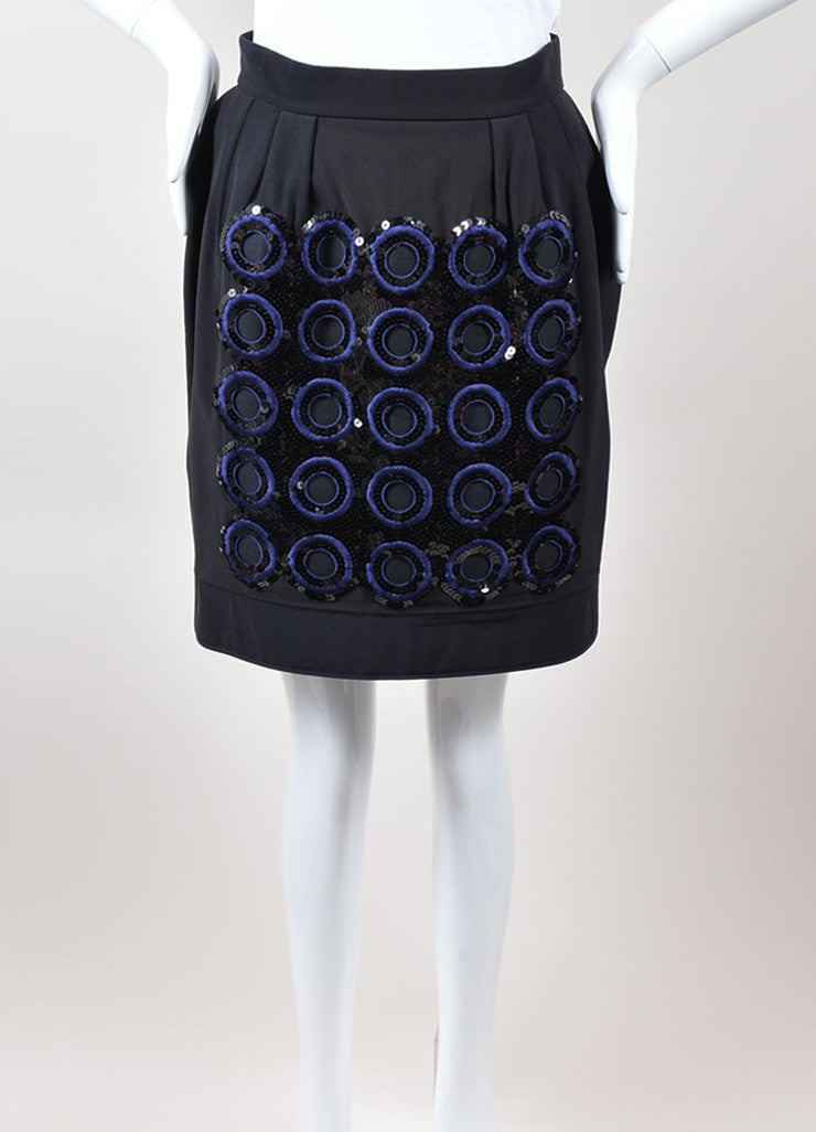 Marni Black Navy Silk Cotton Embroidered Circle Sequin Skirt Frontview