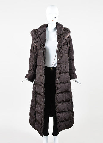 Chocolate Brown Moncler Nylon Drawstring Shawl Full Length Puffer Coat Frontview