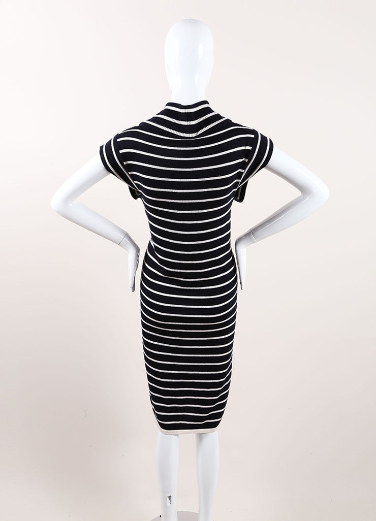 Oscar de la Renta New With Tags Navy and Cream Cashmere and Silk Stripe Sweater Dress Backview