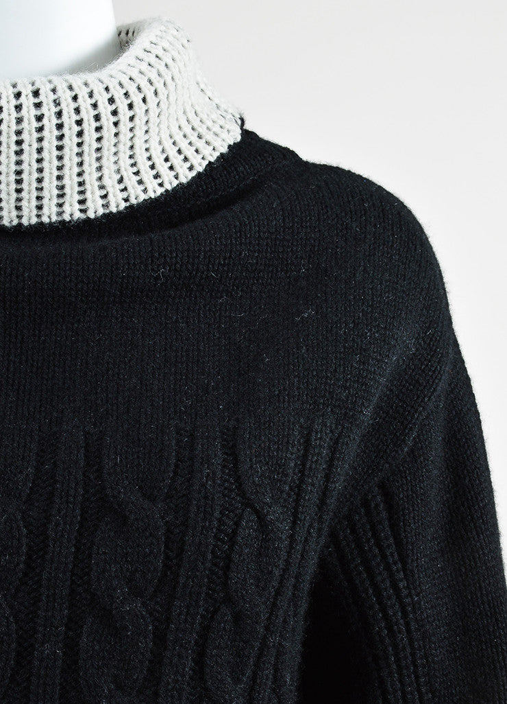 Prabal Gurung Black and Cream Cashmere Turtleneck Pullover Sweater Detail