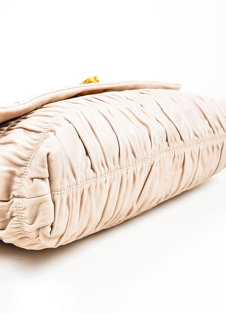 "Blush Prada Leather Ruched ""Napa Gaufre"" Large Clutch Bottom"