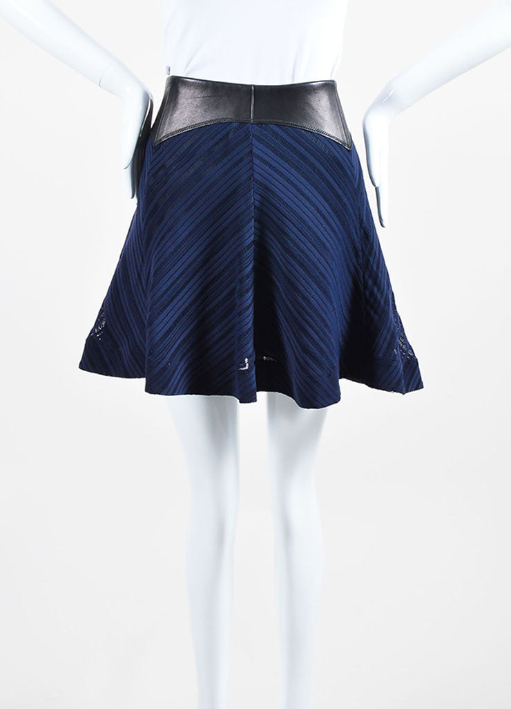 Black and Navy Blue Rag & Bone Leather Trim Eyelet Flared Skirt Frontview