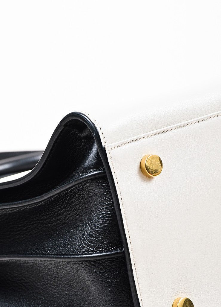 "¥éËSaint Laurent Light Grey and Black Leather Color Block ""Small Sac de Jour"" Tote Bag Detail"