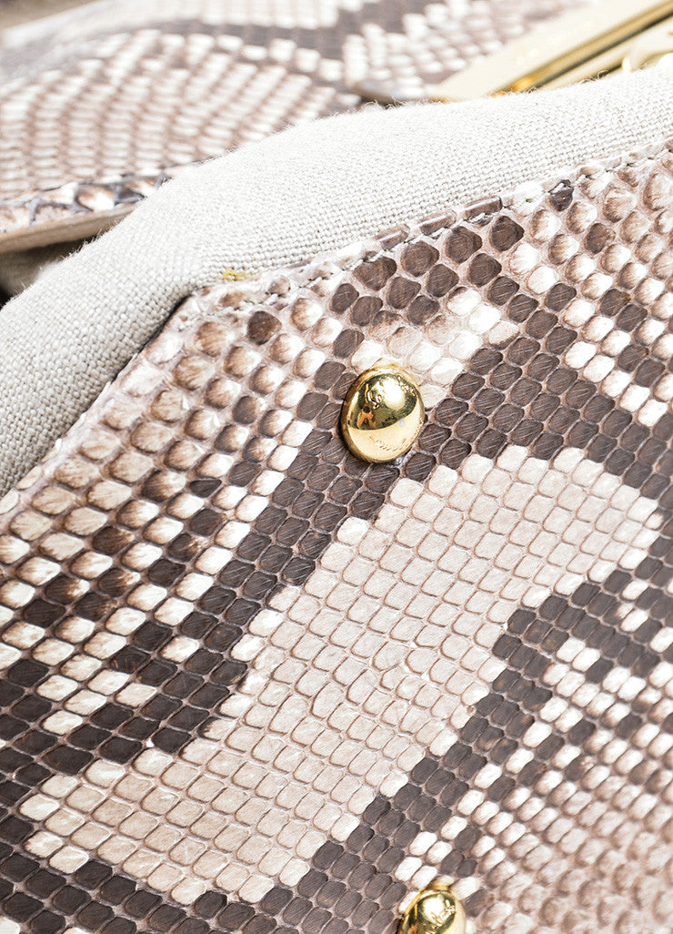 "Salvatore Ferragamo Taupe Canvas and Snakeskin ""Fiamma"" Shoulder Bag Detail"
