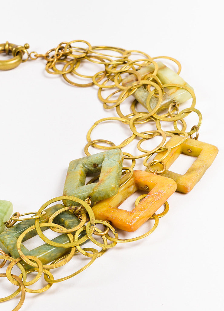 Susanna Galanis Vintage Brass Green Brown Agate Layered Chain Necklace Detail 2