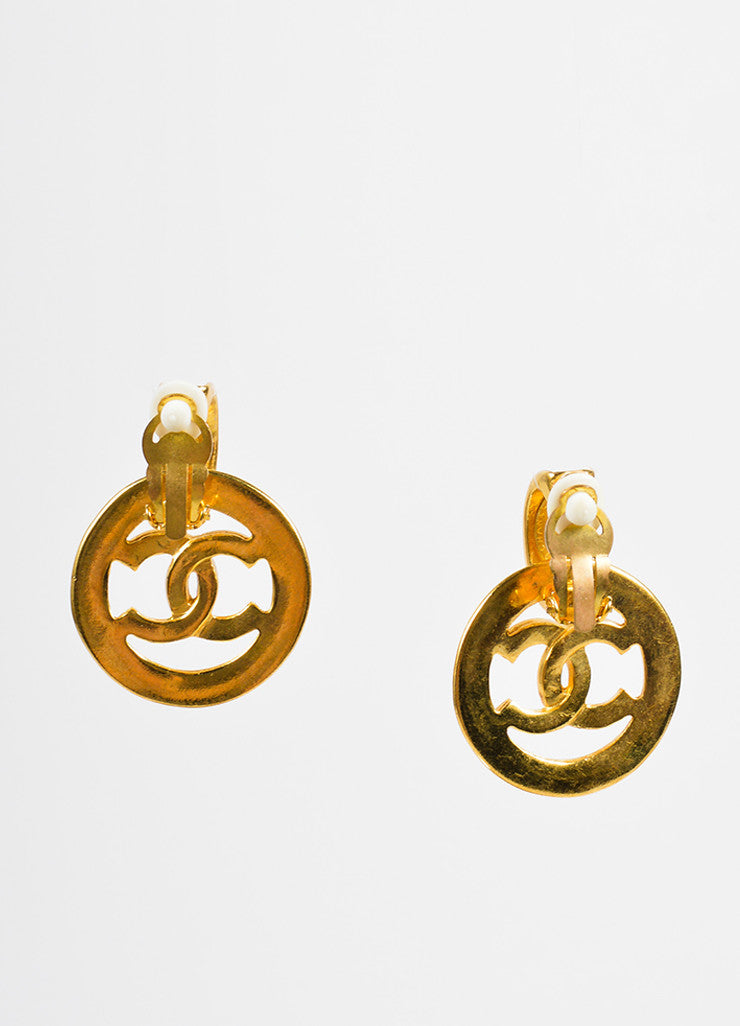 "Chanel White and Gold Toned Enamel Drop Circle ""CC"" Earrings Backview"