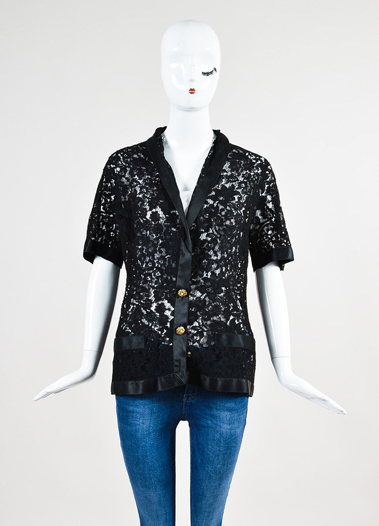 Chanel Black Lace Satin Camellia Pearl Flower Button Jacket Frontview 2
