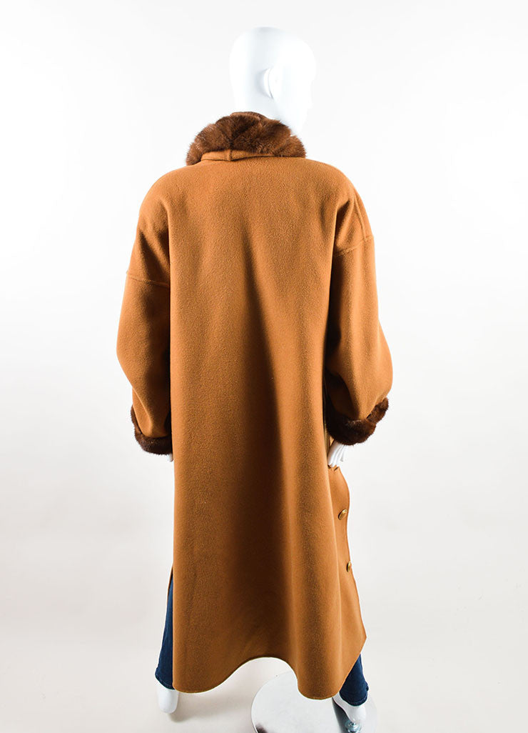 Revillon Camel Wool Fur Trim Collar Open Long Coat Backview