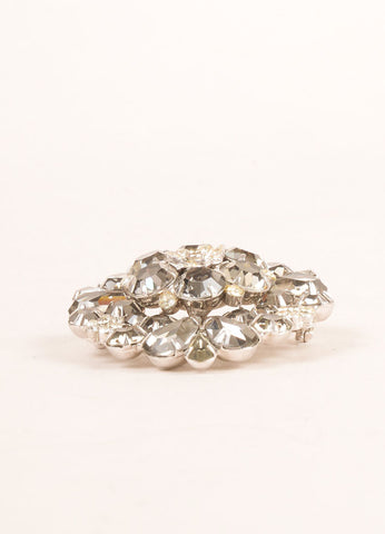 Weiss Grey and Silver Toned Rhinestone Embellished Floral Pin Brooch Sideview