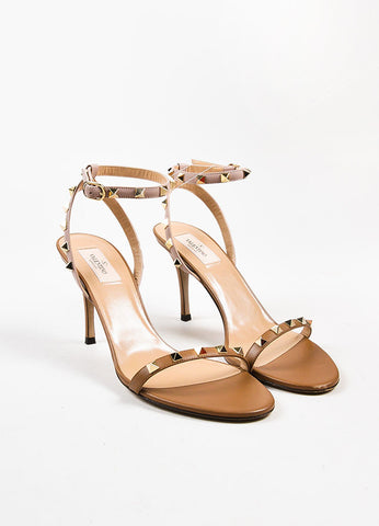 "Valentino Nude Taupe Leather Ankle Strap ""Rockstud"" Heeled Sandals Frontview"