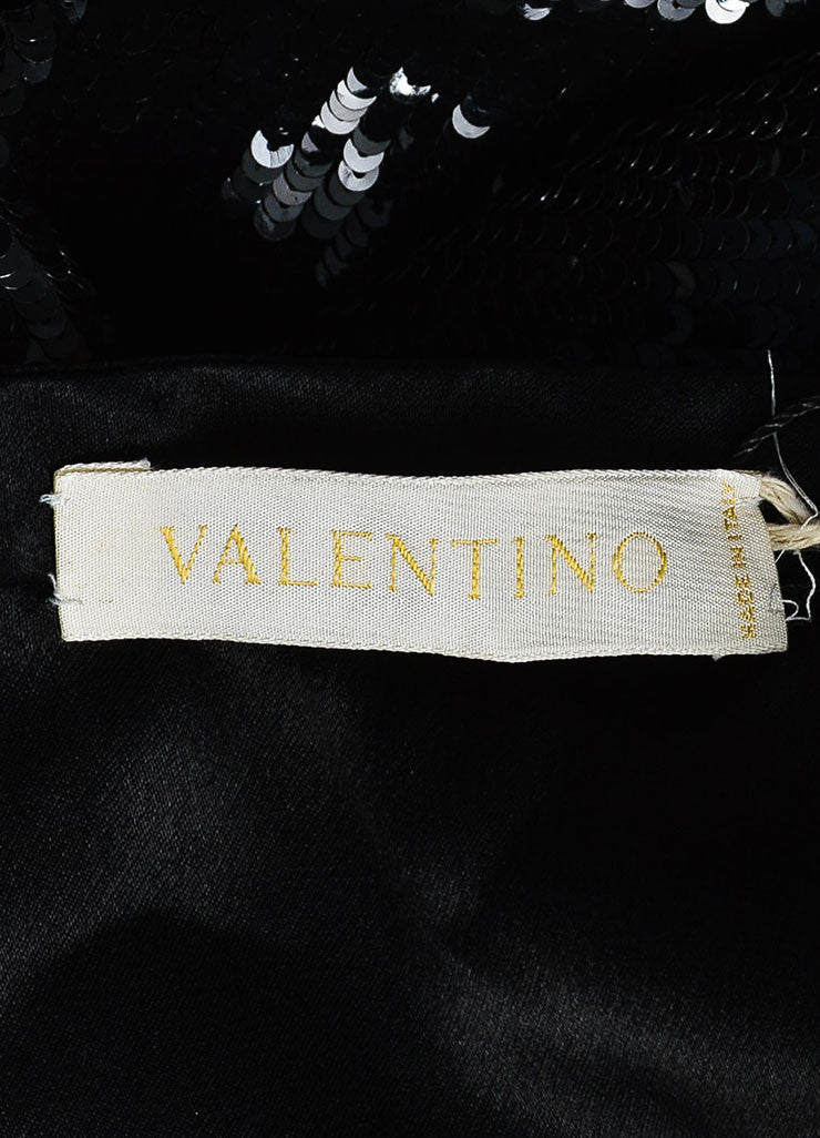Black Valentino Silk Sequin Embellished Pleated Knee Length A-Line Skirt Brand