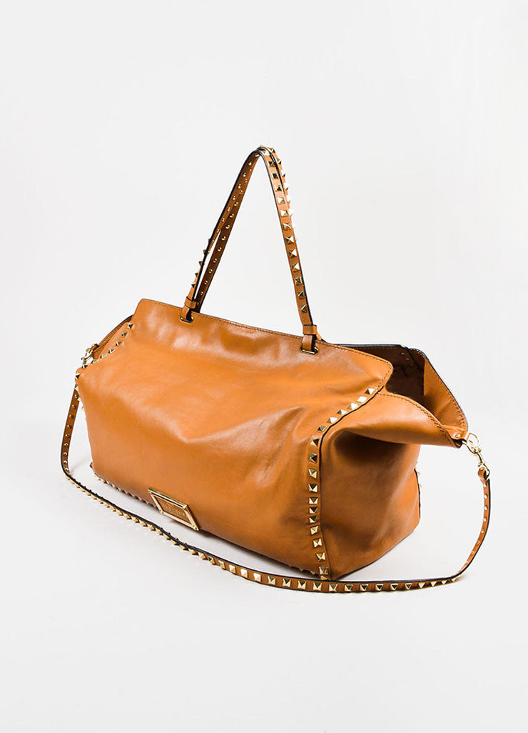 "Valentino Garavani Caramel Leather Gold Toned ""Rockstud Medium Tote"" Bag Sideview"