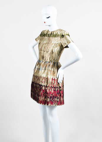 Multicolor Valentino Feather Print Jacquard Weave Short Sleeve Dress Sideview